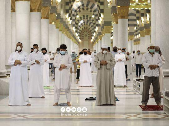 The Prophet's Mosque in Medina, Saudi Arabia