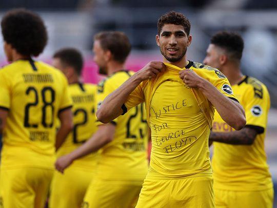 Borussia Dortmund's Achraf Hakimi pays tribute to George Floyd