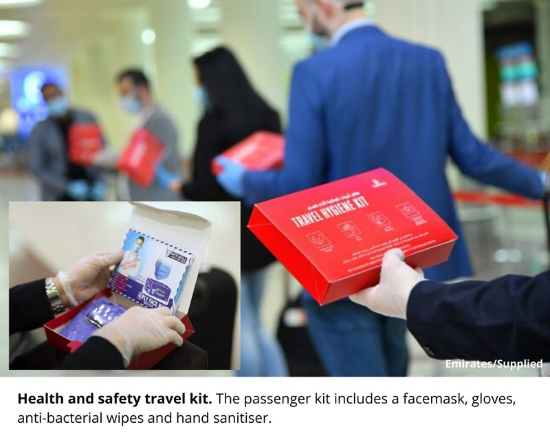 Health and safety travel kit. The passenger kit includes a facemask, gloves, anti-bacterial wipes and hand sanitiser