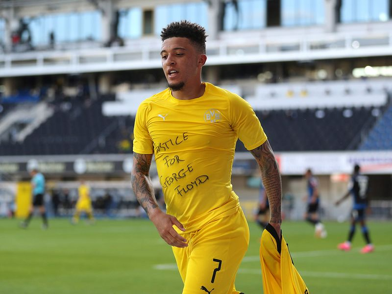 Jadon Sancho shows his message of support for George Floyd after scoring for Borussia Dortmund