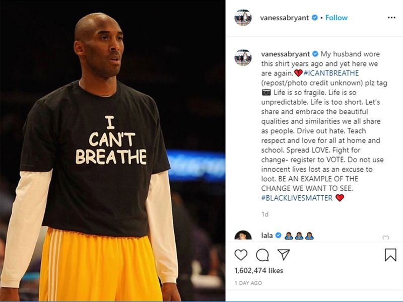 Kobe Bryant wears 'I can't breathe' T-shirt in Instagram post from his wife Vanessa.