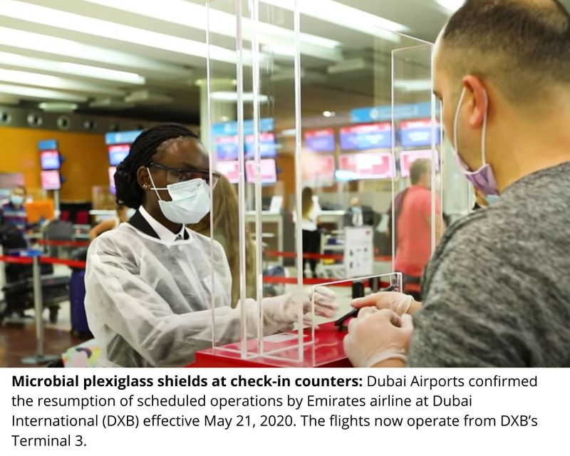 Microbial plexiglass shields at check-in counters: