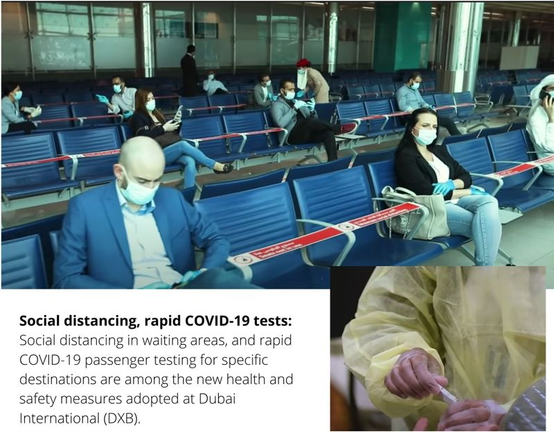 Social distancing and rapid COVID-19 test at airport waiting area