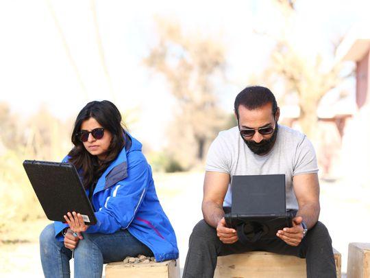 Uzma Zakaria with ace director Nadeem Baig, working on the script of LONDON NAHI JAUNGA-1590997694722