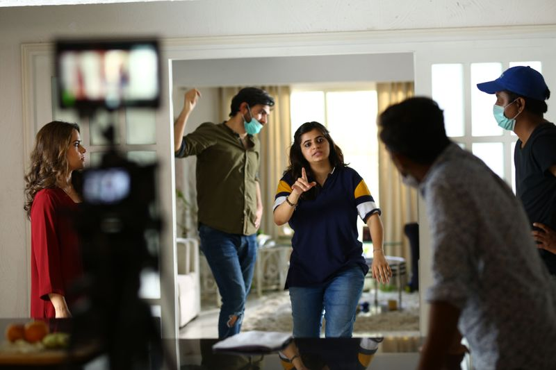 Uzma Zakariya calling the shots on the set of her short film-1590997691409