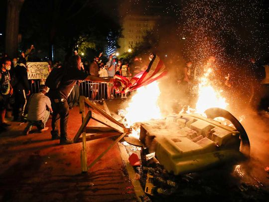 White House protests demonstrators car on fire George Floyd