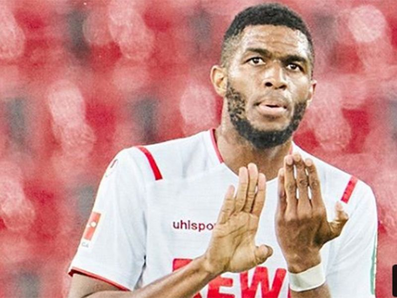 Anthony Modeste made a gesture of solidarity after scoring a goal for Cologne in its match against Leipzig on Monday, standing briefly with his right palm facing out and his left palm facing in to display the darker skin on the back of his hand.