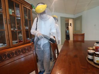 Clairvoyant staff disinfecting a home