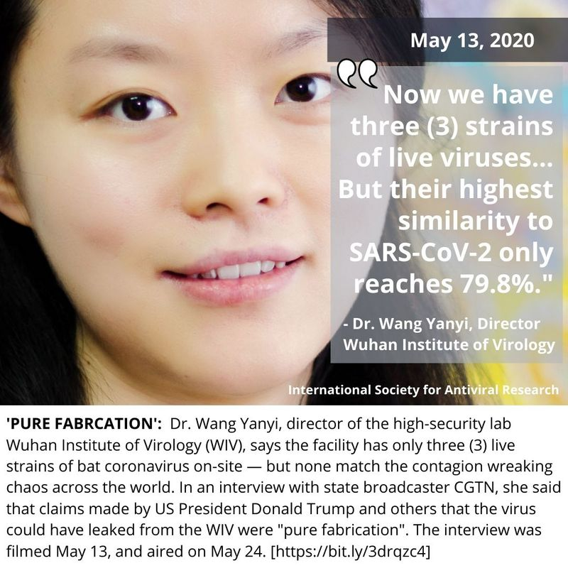 Dr. Wang Yanyi, director of the high-security lab Wuhan Institute of Virology (WIV)