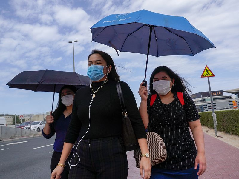 Women wearing masks; covid-19 in uae