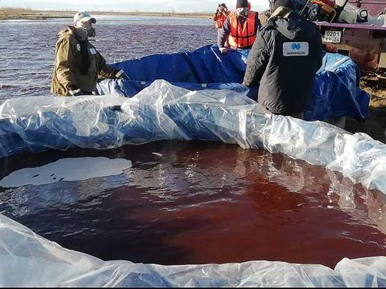 Arctic oil spill Ambarnaya River outside Norilsk