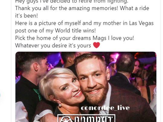 Conor McGregor tweeted his third retirement on Saturday night