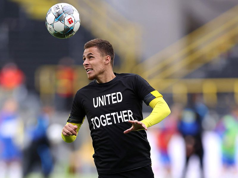 Dortmund's Belgian forward Thorgan Hazard wears a