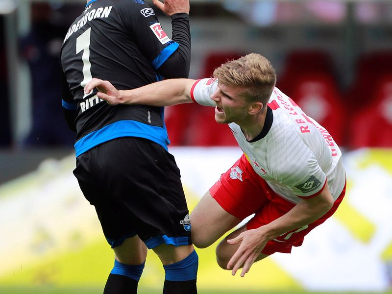 Paderborn's Marlon Ritter in action with RB Leipzig's Timo Werner