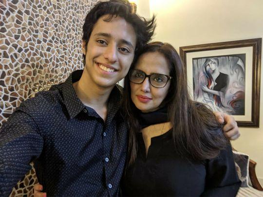 Mehr Tarar with her son Moosa