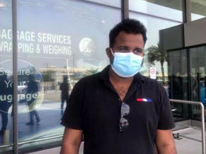 Nithin pictured by Gulf News after dropping off his wife at Dubai Airport