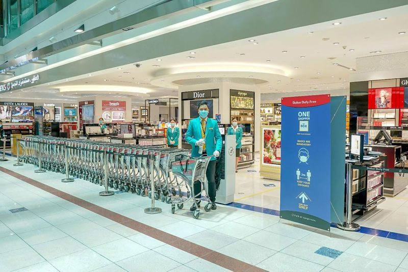 Shopping trolleys at Dubai Duty Free