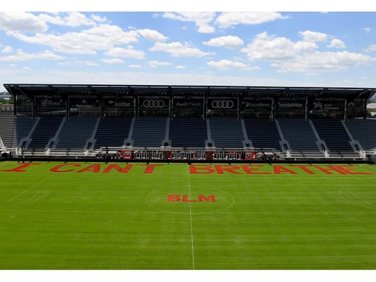 The message painted on the pitch by DC United players