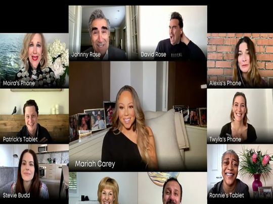 Mariah Carey with cast of Schitt's Creek
