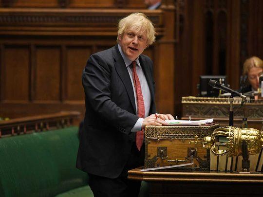 Britain's Prime Minister Boris Johnson in Parliament