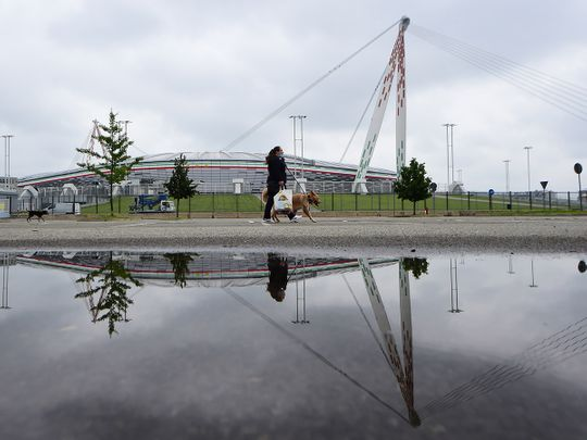 All is quiet at the Allianz Stadiumin Turin ahead of the fan-free Juvntus v AC Milan clash - the first professional match to be played in Italy following the outbreak of the coronavirus