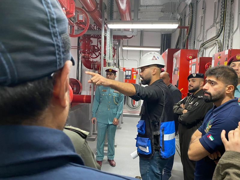 An inspection by Civil Defence at a Sharjah building