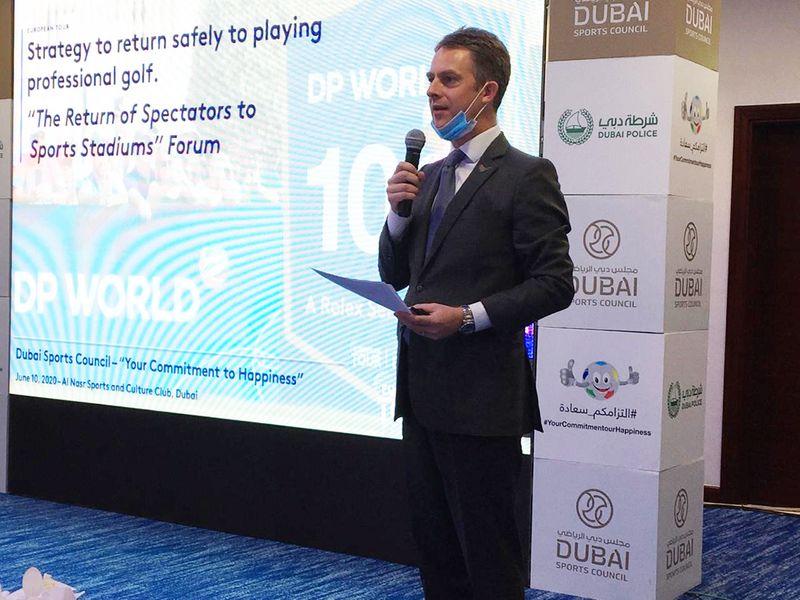 European Tour Middle East representative Tom Philipps at the Dubai Sports Council Forum at Al Nasr Club, on Wednesda