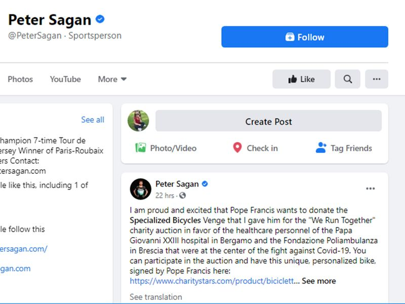 Peter Sagan announced the auction donation on Facebook