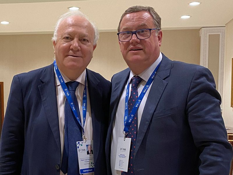 BSWW President Joan Cusco, right, with UNAOC's High Representative Miguel Angel Moratinos.