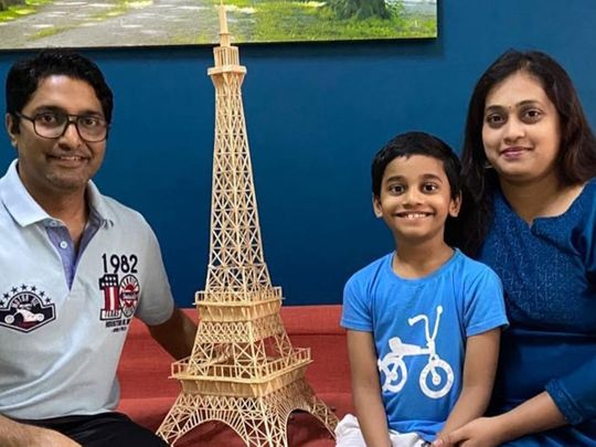 Kerala boy in Dubai builds the Eiffel Tower out of matchsticks during coronavirus restrictions