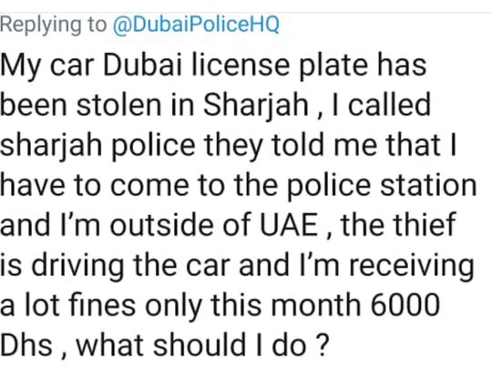 Tweet from the car owner who was outside the country when his car was stolen