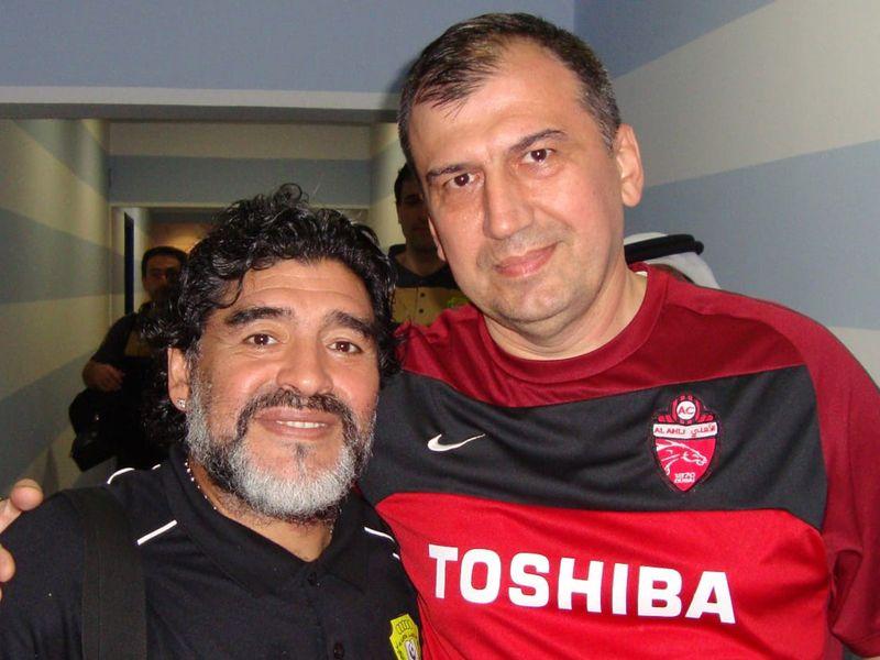 Faiq Huseynov with former Al Wasl coach Diego Maradona