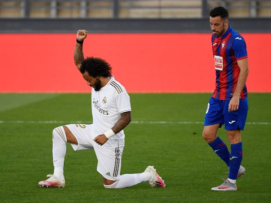 Real Madrid's Marcelo marked his goal against Eibar by taking a knee in support of the global anti-racism protests.