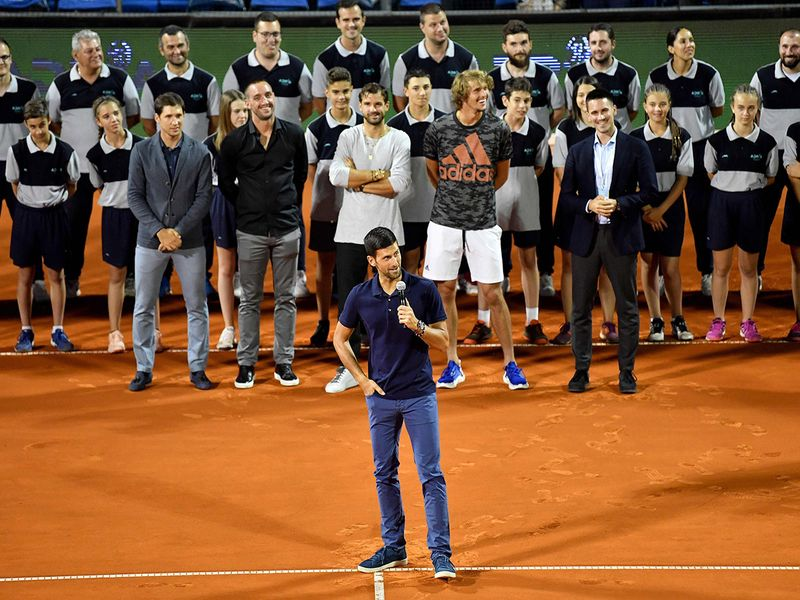An emotional Novak Djokovic speaks after the final match Dominic Thiem and Filip Krajinovic at the Adria Tour.