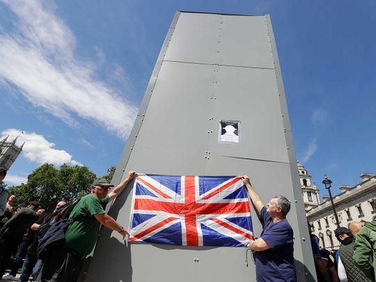 Britain race riots statue Churchill