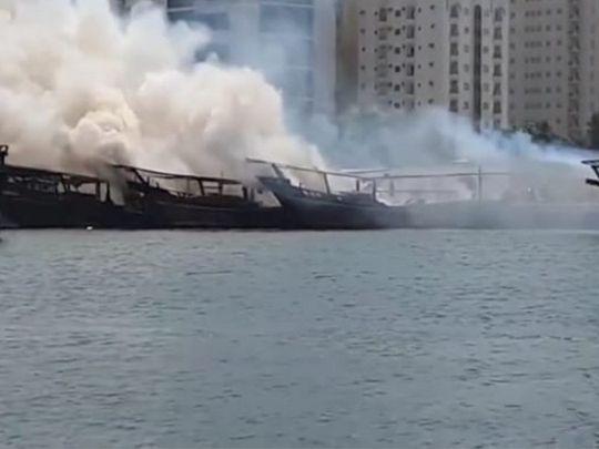 Fire breaks out on three fishing boats in Sharjah