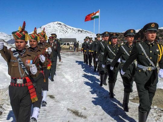 Indian and Chinese soldiers Bumla border China