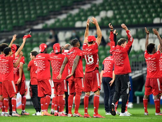 Bayern Munich celebrate their Bundesliga title.