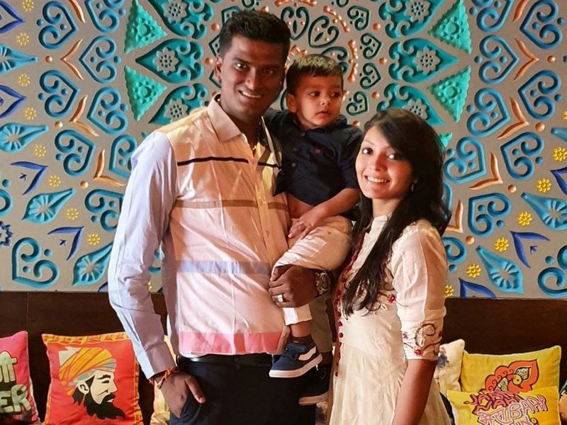 Parag Savani with his wife and son