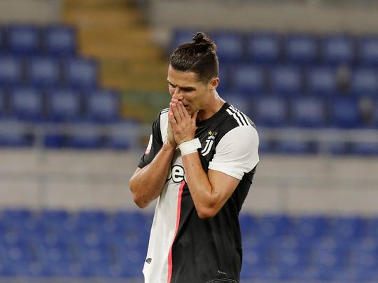 Cristiano Ronaldo is close to tears after the final whistle of the Coppa Italia final between Napoli and Juventus.