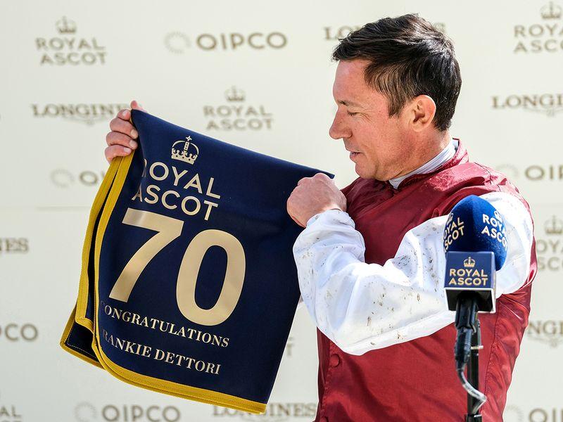Frankie Dettori celebrates 70 wins at Royal Ascot.
