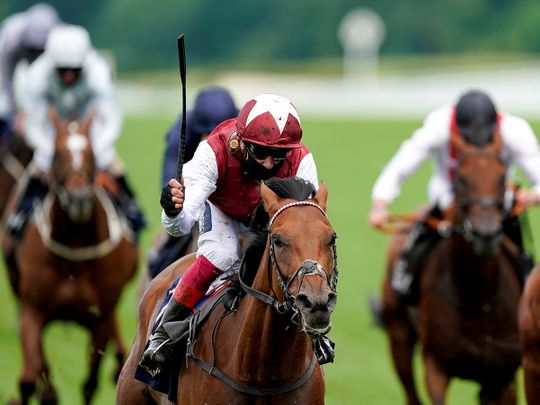 Frankie Dettori rides Fanny Logan to the win in the Hardwicke Stakes at Royal Ascot.
