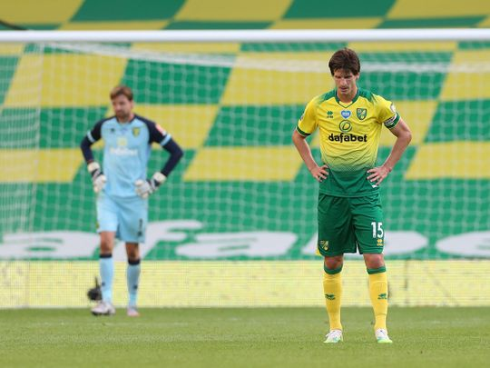 Norwich City's Timm Klose and Tim Krul look like beaten men for Norwich.