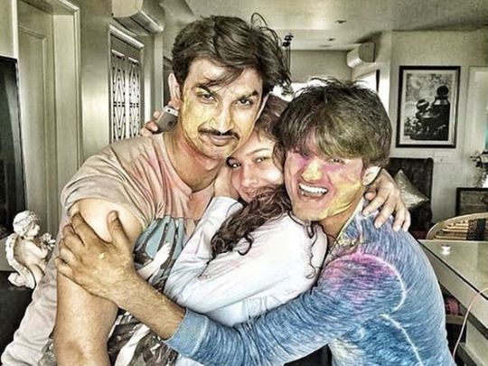 Sushant Singh Rajput with Ankita Lokhande and Sandip SSingh
