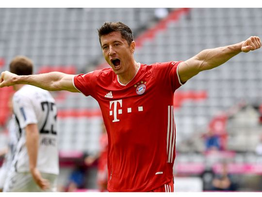 Bayern Munich's Robert Lewandowski celebrates