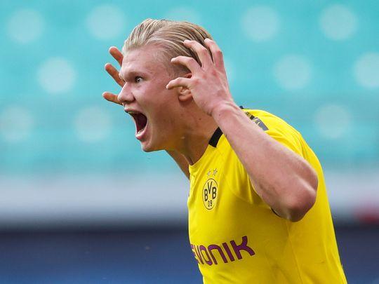 Borussia Dortmund's Erling Braut Haaland celebrates scoring their second goal against Leipzig
