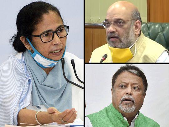Clockwise from left: Mamata Banerjee, Amit Shah and Mukul Roy.