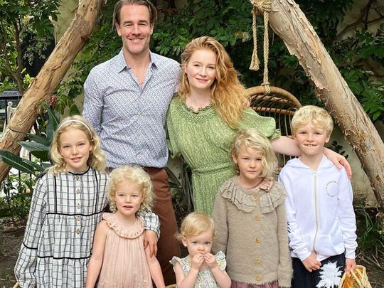 James Van Der Beek with his family