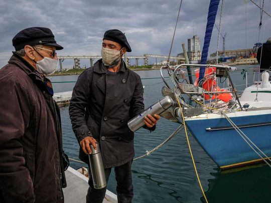 Argentine Juan Manuel Ballestero speaking with his father Carlos after sailing across the Atlantic