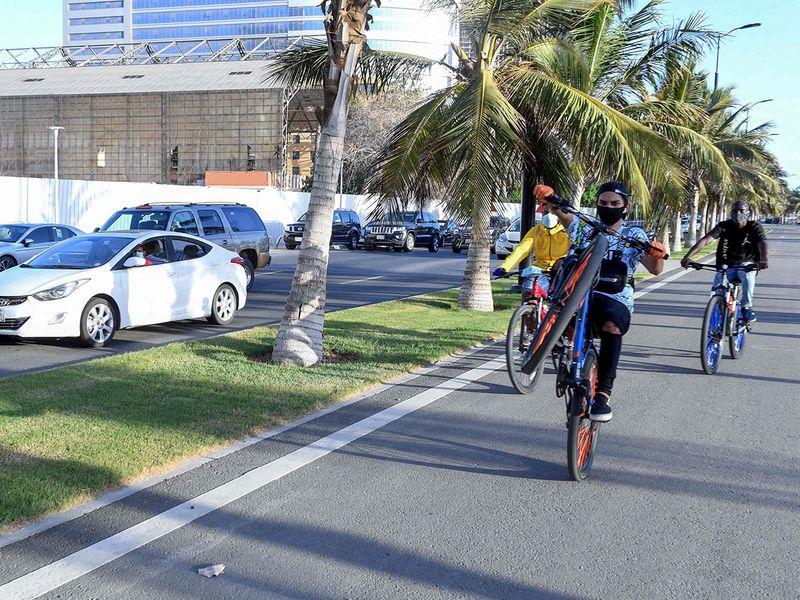 Saudi cycle beach front